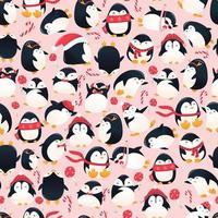 super süße Cartoon Urlaub Pinguine nahtloses Muster