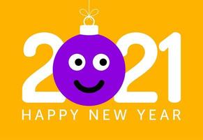 2021 Neujahrsgruß mit lächelnder Emoji-Gesichtsverzierung