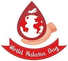 värld malariadag logotyp eller banner med mygga och jorden på blod droppe bakgrund vektor