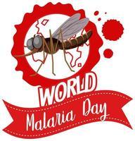 Welt Malaria Tag Logo oder Banner mit Mücke auf der Erde
