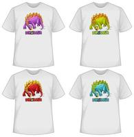 uppsättning olika färger dinosaurie skärm på t-shirts