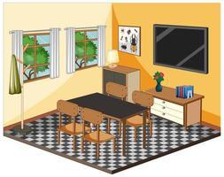vardagsrumsinredning med möbler i gult tema