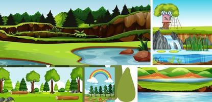 sex naturscener med olika platser