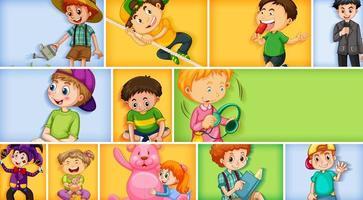 Satz von verschiedenen Kindercharakteren auf verschiedenem Farbhintergrund