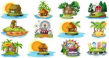 Set von verschiedenen Bungalows und Inselstrand Thema