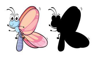 Satz Insektenzeichentrickfigur und seine Silhouette auf weißem Hintergrund