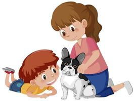 zwei Kinder, die mit niedlichem Hund auf weißem Hintergrund spielen