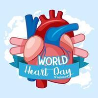 isolerad värld hjärta dag logotyp