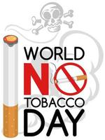 världen ingen tobaksdagslogotyp med stor tobakförbränning och skalle vektor