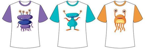 uppsättning olika färger söta monster eller utomjordingar skärm på t-shirts