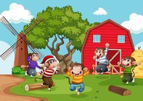 fem liten apa som hoppar på gårdsplatsen vektor