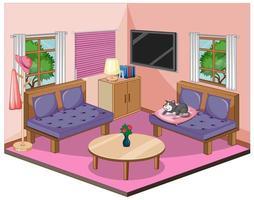 vardagsrumsinredning med möbler i rosa tema