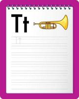 alfabetet spårning kalkylblad med bokstaven t och t