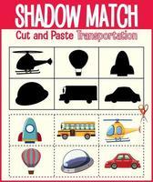 Finden Sie das richtige Arbeitsblatt für Schatten und Schattenübereinstimmungen für Kindergartenschüler vektor