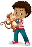 Junge, der einen kleinen Affen lokalisiert auf weißem Hintergrund hält