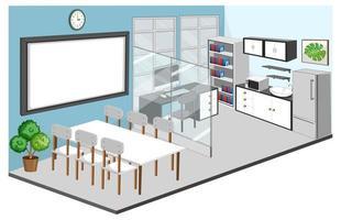 Innenraum des Büroraums und des Besprechungsraums mit Möbeln vektor