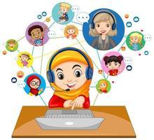 framifrån av en muslimsk flicka som använder bärbar dator för att kommunicera videokonferens med lärare och vänner på vit bakgrund vektor
