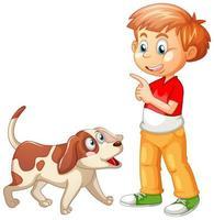 Junge spielt mit einem Hund lokalisiert auf weißem Hintergrund