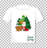 Weihnachtsmann-Karikaturfigur mit Weihnachtsmotivelement auf T-Shirt auf transparentem Hintergrund vektor