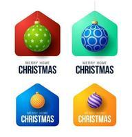 bunte frohe Hausweihnachtskarten mit verzierten Kugelverzierungen
