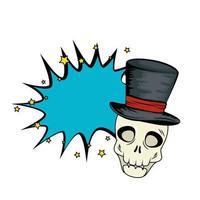 Pop-Art-Halloween-Schädel mit Zylinder vektor