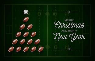 julgran gjord av amerikansk fotboll på fältet