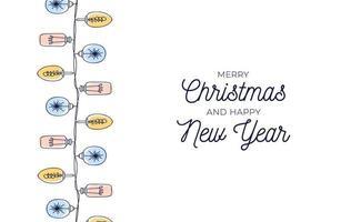 Vintage Weihnachtskarte mit handgezeichneten Glühbirnengirlanden