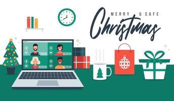 Weihnachtsgruß mit Familie oder Freunden Videoanruf vektor