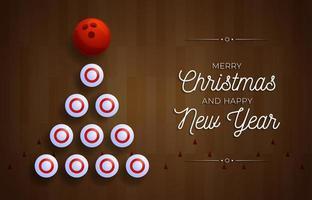 julgran gjord av bowlingnålar på träfält