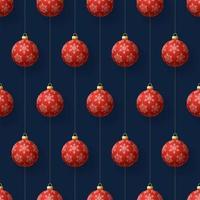 nahtloses Muster der hängenden roten Schneeflockenverzierungen der Weihnachten vektor