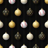 jul hängande ornament och baseball sömlösa mönster