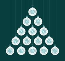 kreativt coronavirus julgran gjord av småsakbollar