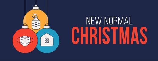 Weihnachten Coronavirus Ball Ornament blaue Banner vektor