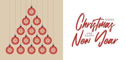 flache covid Verzierungen Weihnachten und Neujahrsgrußkarte