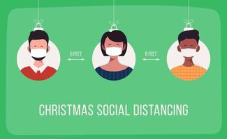 Weihnachten soziale Distanzierung Banner mit maskierten Menschen Ornamente vektor