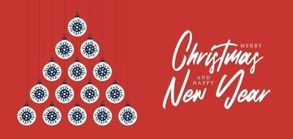 Covid Ornament Weihnachten und Neujahrsgrußkarte vektor