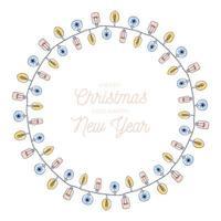 Weihnachtshand gezeichnete Glühbirne Girlande Kreis Rahmen vektor