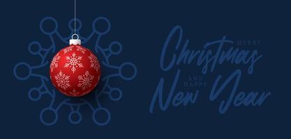 rote Weihnachtskugel Coronavirus Zelle blaues Banner vektor