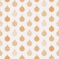 jul sömlösa mönster med gyllene och vita bollar vektor