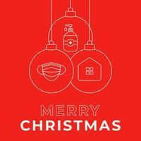 Weihnachten Coronavirus Ball Ornament rotes Banner vektor