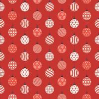 jul sömlösa mönster med röda och vita bollar