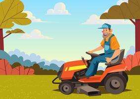 Man Ridning gräsklippare