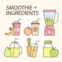 smoothie och ingredienser vektor