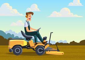 Mann mit Rasenmäher vektor