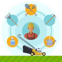 Flache Gartenarbeit und Rasenmäher-Vektor-Illustration