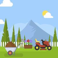 Flacher Garten und Rasenmäher-Vektor-Illustration