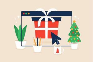 jul online shopping design med gåva i webbläsarfönstret