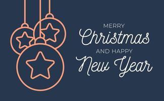 Retro Weihnachts- oder Neujahrskarte mit Baumkugeln