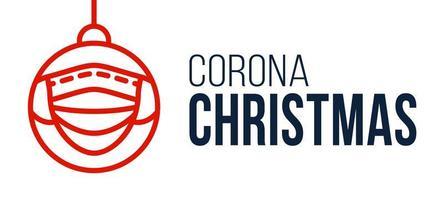 Corona Weihnachtsgesichtsmaske Ball Banner vektor