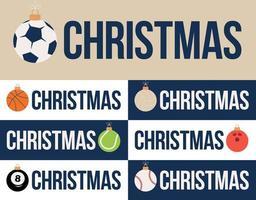 Sport Frohe Weihnachten horizontale Banner Set vektor